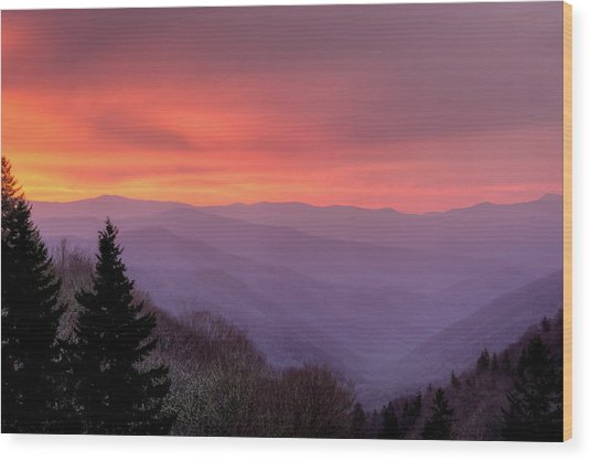 Sunrise In The Smoky Mountains Wood Print by Dennis Govoni