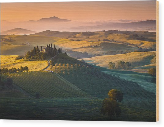 Sunrise In Tuscany Wood Print