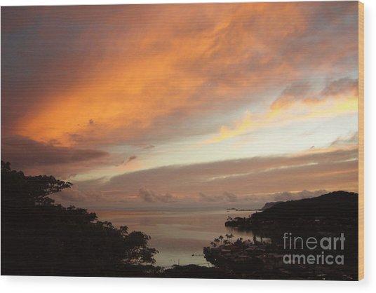 Sunrise Kaneohe Bay Wood Print