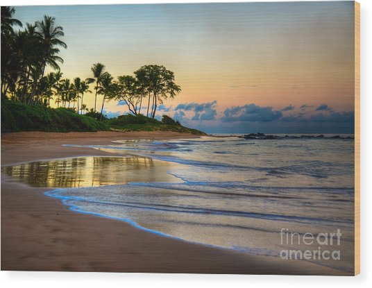 Sunrise Keawakapu Beach Wood Print