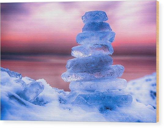 Sunrise Lake Michigan 12-19-13 1 Wood Print