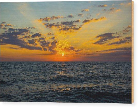 Sunrise Lake Michigan August 10th 2013 001 Wood Print