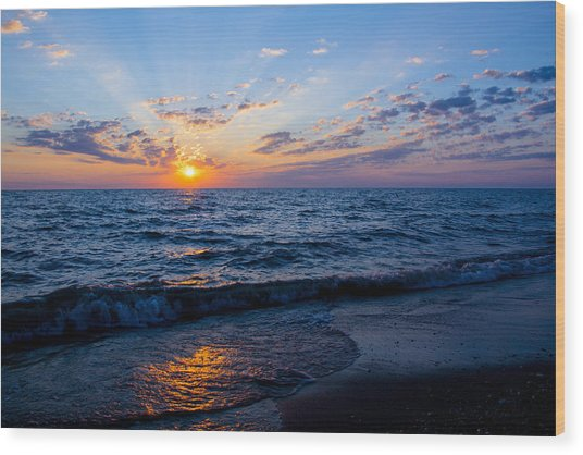 Sunrise Lake Michigan August 10th 2013 002 Wood Print