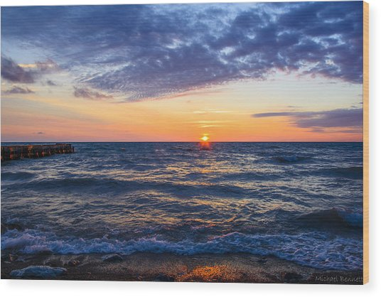 Sunrise Lake Michigan August 8th 2013 001 Wood Print