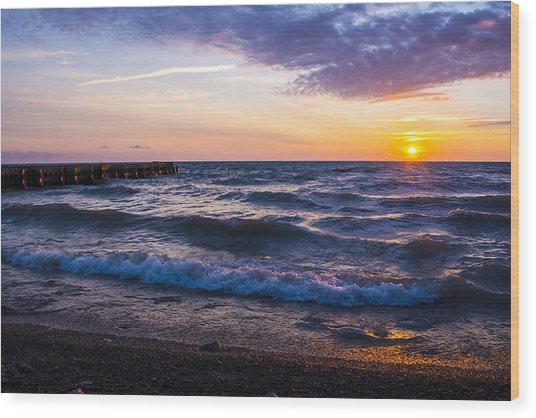 Sunrise Lake Michigan August 8th 2013 004 Wood Print