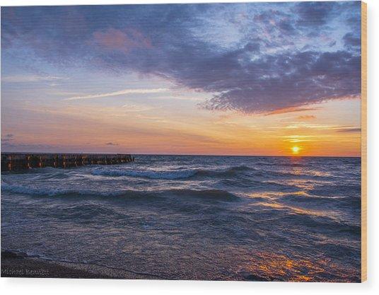 Sunrise Lake Michigan August 8th 2013 007 Wood Print