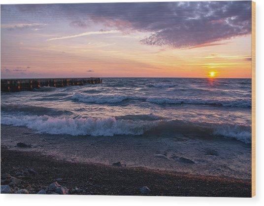 Sunrise Lake Michigan August 8th 2013 Wave Crash Wood Print