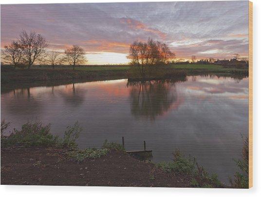 Sunrise Lenton Fishing Pond Wood Print
