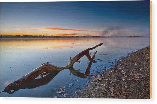 Sunrise Log Lake Wood Print by Berkehaus Photography