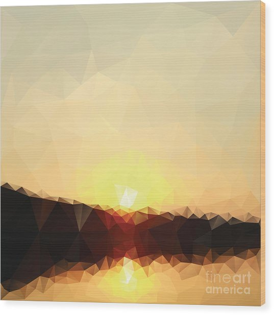 Sunrise Low Poly Effect Abstract Vector Wood Print by Vinko93