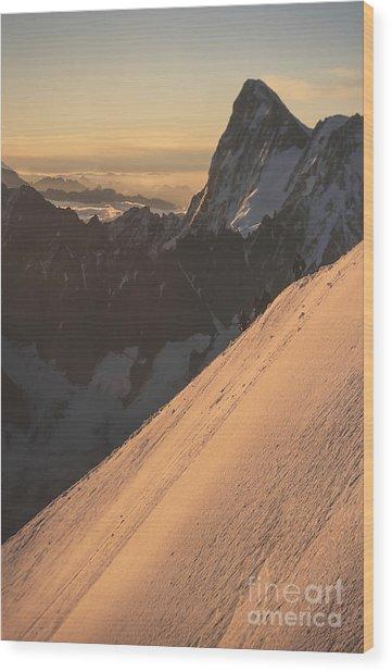 Sunrise Massif Du Mt Blanc Wood Print by Soren Egeberg