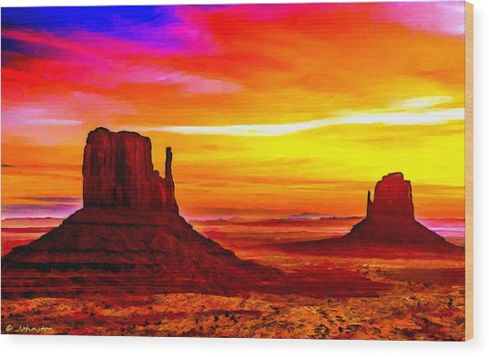 Sunrise Monument Valley Mittens Wood Print