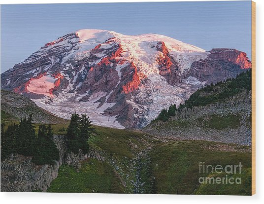 Sunrise Mt Rainier Wood Print