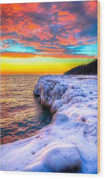 Sunrise North Of Chicago Lake Michigan 1-14-14 Wood Print by Michael  Bennett