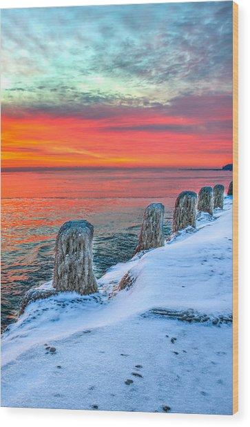 Sunrise North Of Chicago Lake Michigan 1-18-14 Wood Print by Michael  Bennett