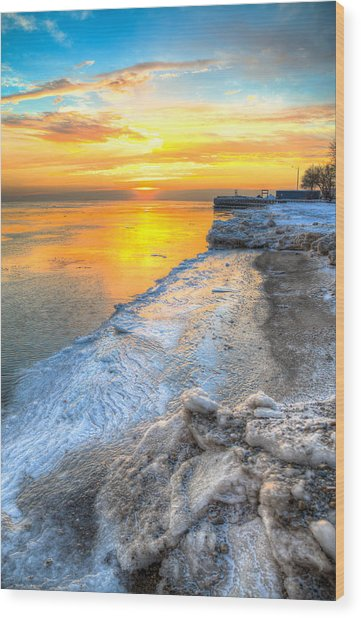 Sunrise North Of Chicago Lake Michigan 1-4-14   Wood Print by Michael  Bennett