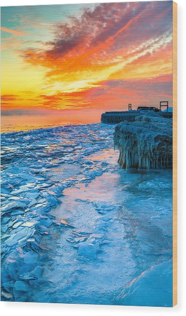 Sunrise North Of Chicago Lake Michigan 1-9-14 002  Wood Print by Michael  Bennett
