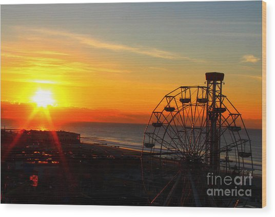 Sunrise Ocean City Boardwalk Wood Print