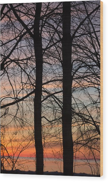 Sunrise Of Lake Huron Wood Print by Rhonda Humphreys