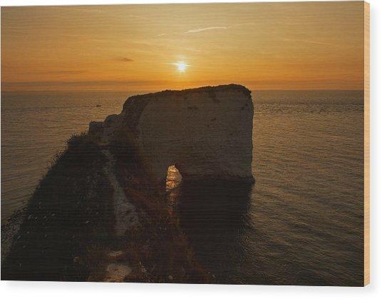 Sunrise Old Harry Rocks Wood Print