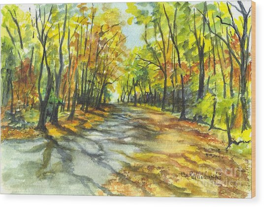 Sunrise On A Shady Autumn Lane Wood Print