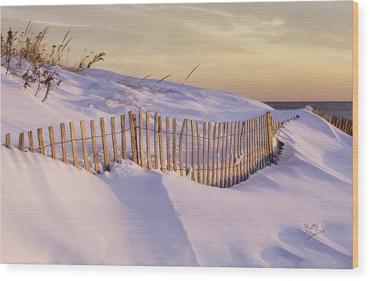 Sunrise On Beach Fence Wood Print