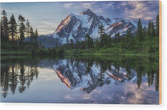 Sunrise On Mount Shuksan Wood Print