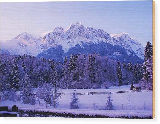 Sunrise On Snowy Mountain Wood Print