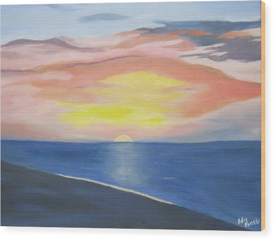 Sunrise On The Atlantic Wood Print by Edna Fenske