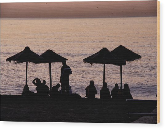 Sunrise On The Beach After A Night Out Wood Print