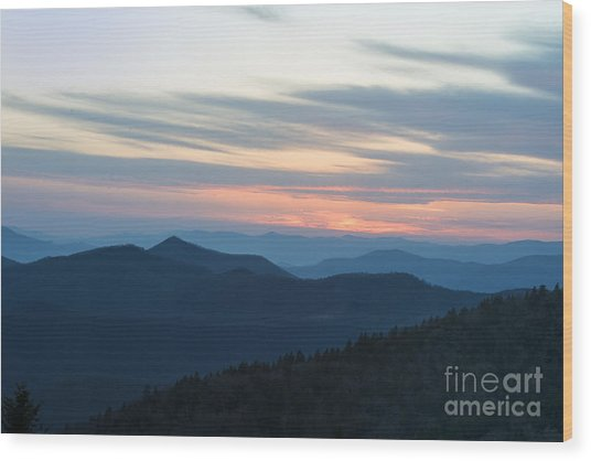 Sunrise On The Blue Ridge Wood Print