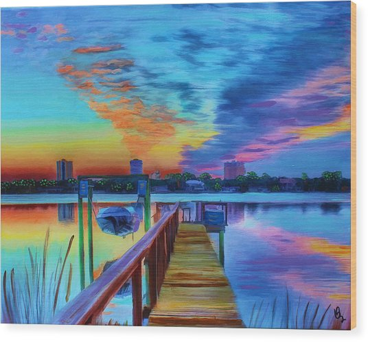 Wood Print featuring the painting Sunrise On The Dock by Deborah Boyd