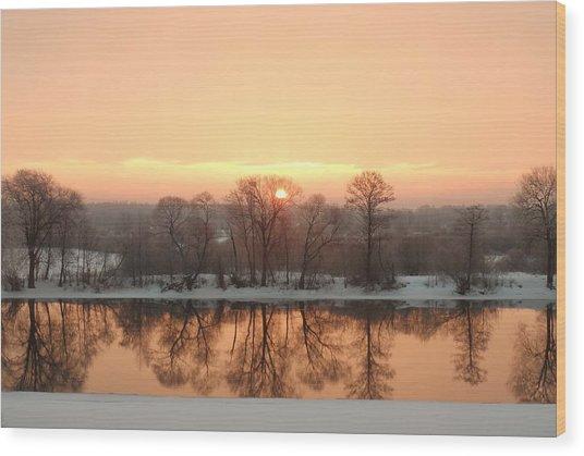 Sunrise On The Ema River Wood Print