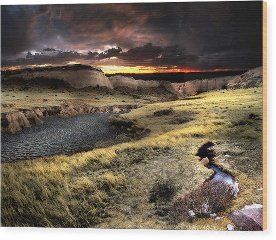 Sunrise On The Pawnee Grasslands Wood Print by Ric Soulen