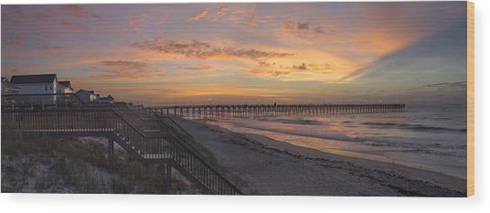 Sunrise On Topsail Island Panoramic Wood Print