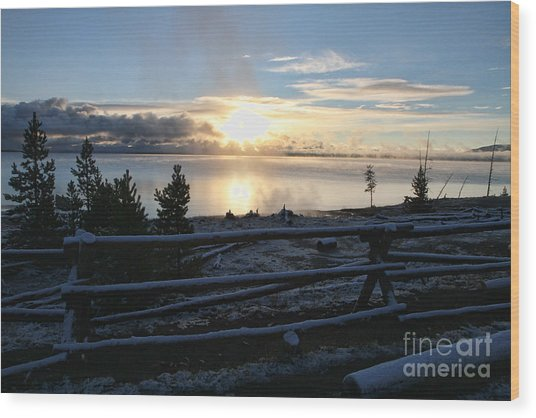 Sunrise On Yellowstone Lake Wood Print