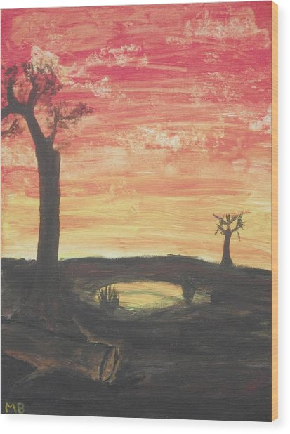 Sunrise Or Sunset Wood Print