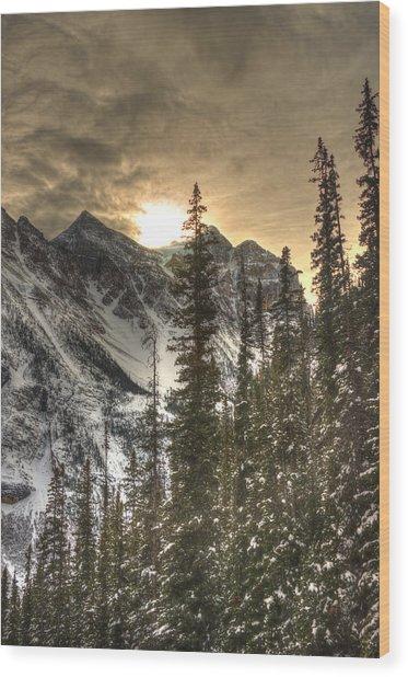 Sunrise Over A Mountain Ridge Wood Print