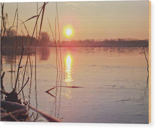 Sunrise Over Frozen Water Wood Print