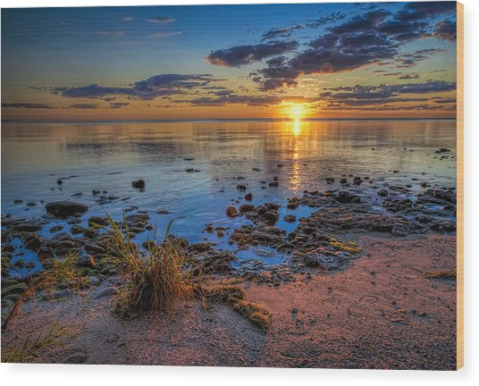 Sunrise Over Lake Michigan Wood Print