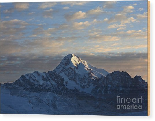 Sunrise Over Mt Huayna Potosi Wood Print