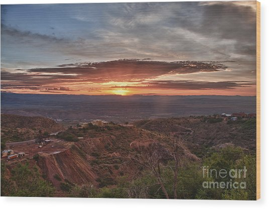 Sunrise Over Sedona With The Jerome State Park Wood Print
