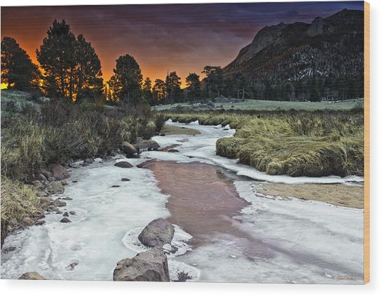 Sunrise Over Sheep Lakes Wood Print by Tom Wilbert