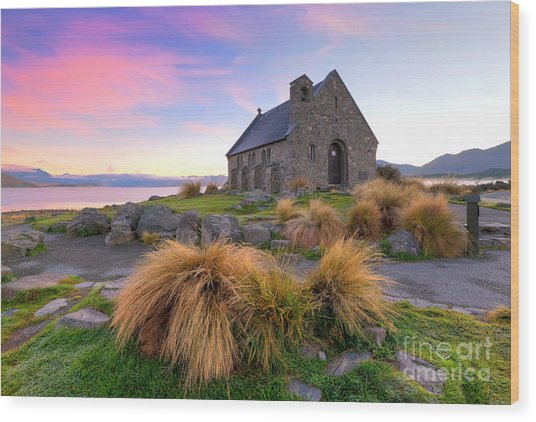 Sunrise Over The Church Of The Good Sheperd Wood Print
