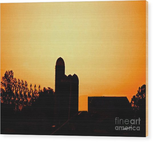 Sunrise Over The Farm Wood Print by Timothy Clinch