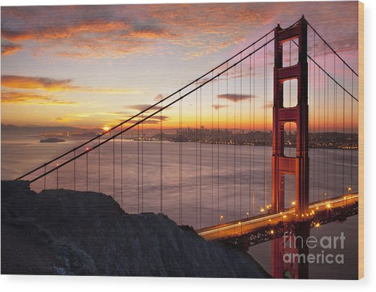 Wood Print featuring the photograph Sunrise Over The Golden Gate Bridge by Brian Jannsen