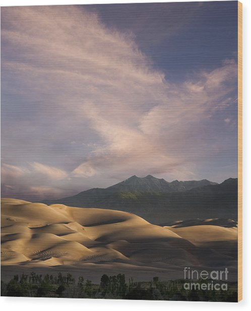 Sunrise Over The Great Sand Dunes Wood Print by Keith Kapple