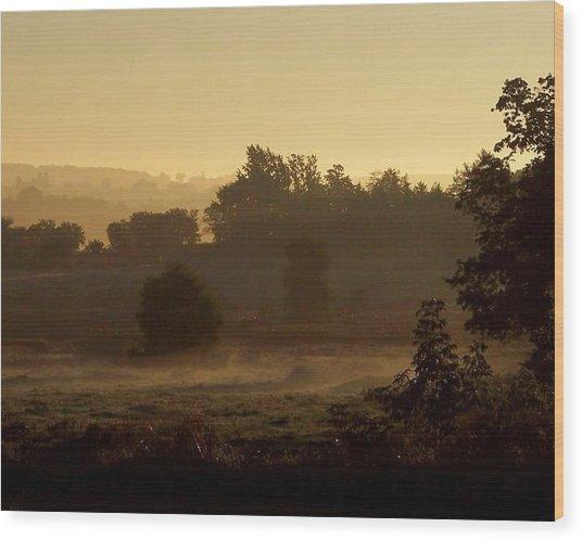 Sunrise Over The Mist Wood Print