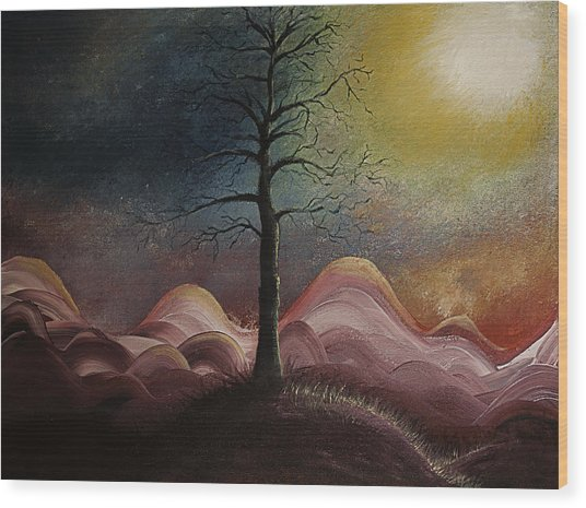 Sunrise Over The Mountains Wood Print