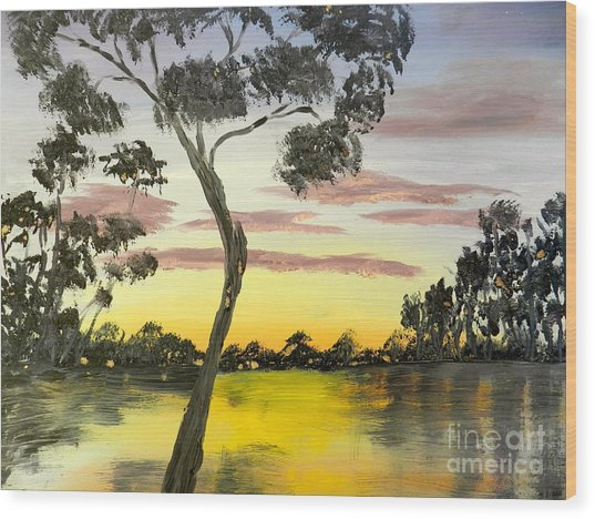 Sunrise Over The Murray River At Lowson South Australia Wood Print